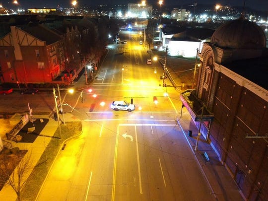 A Cincinnati Police Department photo provides a view of where shots were fired at an on-duty plainclothes officer Thursday night in the West End