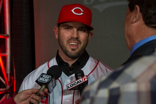 Cincinnati Reds infielder Mike Moustakas addresses the media at his introductory press conference on Dec. 5, 2019 at the Duke Energy Convention Center.