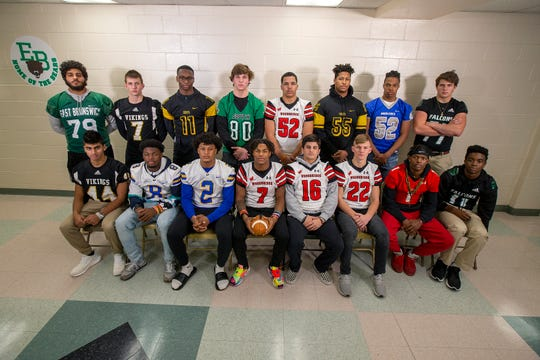 Standing (L to R): Yousef Gamel, East Brunswick; Gage Katzenell-Hall, South Brunswick; Marcel Walker, Piscataway; Austin Scott, South Plainfield; Jordan Harris, Woodbridge; Angel LaPorte, Piscataway; Jordan Campbell, Middlesex; Tommy Romond, St. Joseph. Sitting (L to R): Jai Patel, South Brunswick; Dahvey Hicks, North Brunswick; Myles Bailey, North Brunswick; Ali Lee Jr., Woodbridge; Anthony Santino, Woodridge; Justin Magera, Woodbridge; Tyee Martin, Edison; K-Shawn Schulters, St. Joseph.