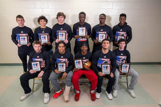 Borden's Ballers (bottom row from left): Colonia's Matt Croteau, Woodbridge's Jesus Cabrera, Edison's Tyee Martin, St. Thomas Aquinas' Alejandro Santiago, Old Bridge's Bryson Corbett. (Back row from left): South Brunswick's Gage Katzenell-Hall, Sayreville's Jayvis Rayside, South Plainfield's Austin Scott, North Brunswick's Leon Lowery, Piscataway's Marcel Walker, St. Joseph's K-Shawn Schulters.
