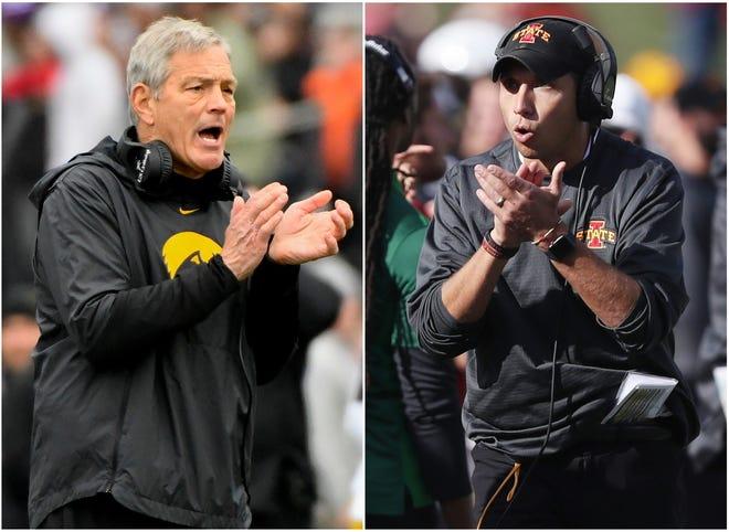 Football coaches Kirk Ferentz (Iowa) and Matt Campbell (Iowa State)