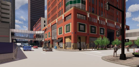 EMC Insurance Companies plans a new skywalk over Seventh Street to replace two temporary structures.