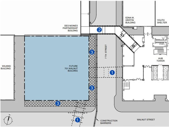 EMC Insurance Companies plans a new skywalk over Seventh Street to replace two temporary structures. No. 1 depicts the existing skywalks; No. 2 depicts the new one.