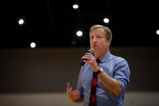 2020 Democratic presidential candidate Tom Steyer speaks at the Iowa Farmers Union Annual Convention at Hotel Grinnell on Friday, Dec. 6, 2019, in Grinnell.