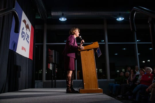 Democratic presidential candidate Sen. Amy Klobuchar, D-Minn., speaks at a campaign event in Des Moines' East Village Thursday, Dec. 5, 2019.