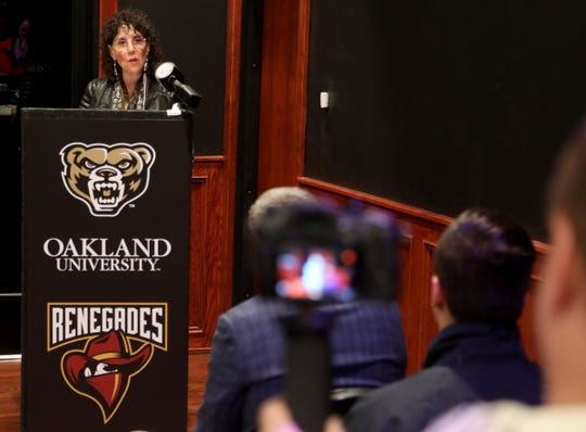 Ora Pescovitz, the president of Oakland University talks during a press conference on December 6, 2019 at Game Time in Auburn Hills to announce the addition of a varsity esports team. The addition of the sport makes the university the first Division 1 school in Michigan to have such a team.