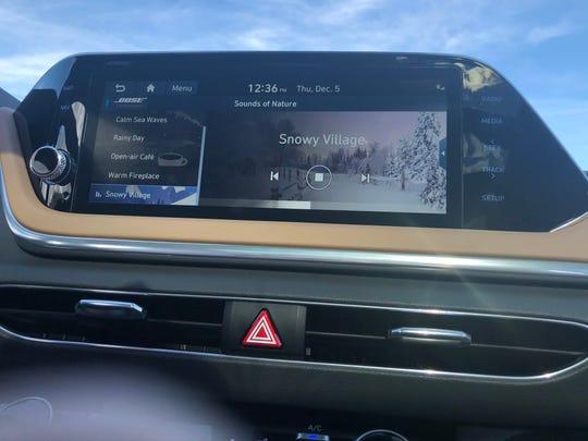 The 2020 Hyundai Sonata's navigation system generates a variety of calming environmental sounds.