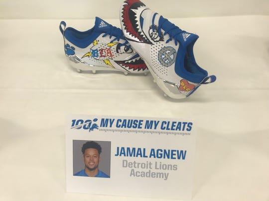 Detroit Lions cornerback Jamal Agnew's cleats