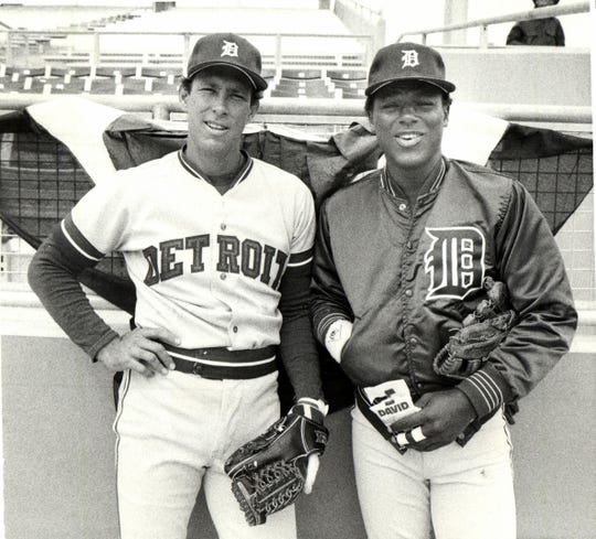 Detroit Tigers Alan Trammell and Lou Whitaker pose for the camera before their opener against the Texas Rangers on the road in spring training in 1988.