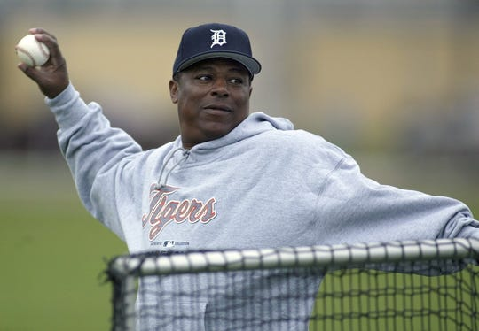 Detroit Tigers' Lou Whitaker, who played second base next to manager Alan Trammell at shortstop for 19 years, throws batting practice at Tigertown Friday, Feb. 27, 2004, in Lakeland, Fla. (AP Photo/Duane Burleson)