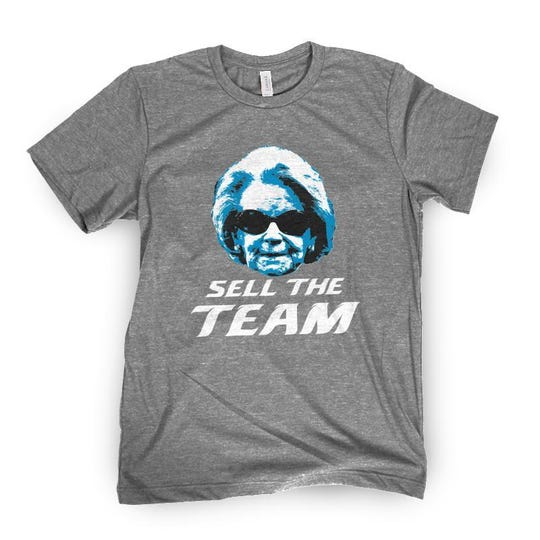 """Lions """"Sell The Team"""" T-shirt with Martha Ford's face on the front, from Barstool."""
