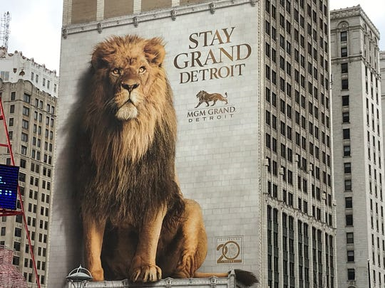 The giant MGM Grand Detroit ad on the side of a building in downtown Detroit, photographed on Dec. 6, 2019.