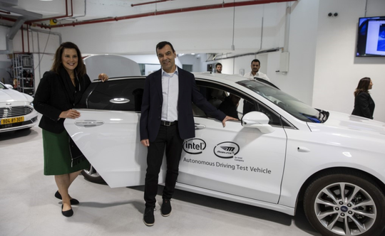 Gov. Gretchen Whitmer during her recent trade mission to Israel, shown with Amnon Shashua, CEO of Mobileye.