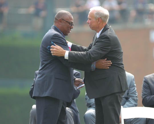 Lou Whitaker embraces teammate Detroit Tigers Hall of Fame short stop Alan during a ceremony held to retire his Trammel's No.3 jersey before action against the Chicago White Sox Sunday, August 26, 2018, at Comerica Park in Detroit, Mich.