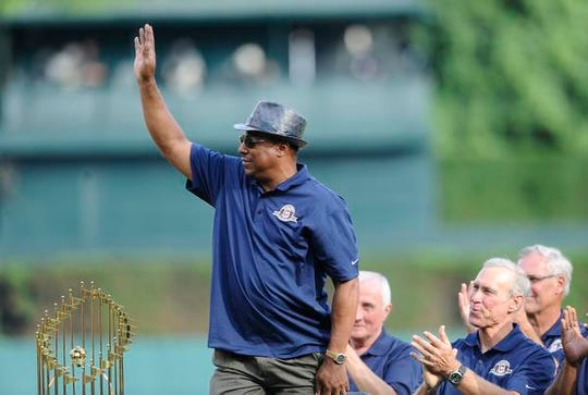 Lou Whitaker waves to the crowd during the pre-game ceremony celebrating the 1984 Tigers in June 2014.