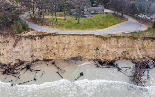 Lake Michigan shoreline erosion  approaches homes in Stevensville.