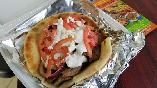 A gyro sandwich at Journey Fish and Chicken.