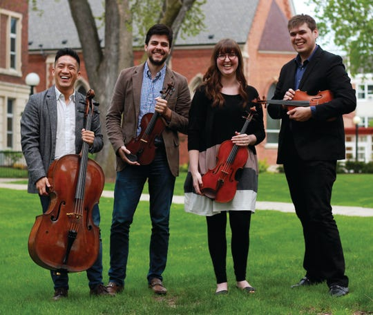 Ryan Louie, Vinicius Sant'Ana, Blakeley Menghini and Roy Meyer, from left, are the Griffon String Quartet, which plays three concerts in Door Coutny and one in Green Bay from Dec. 13 to 15