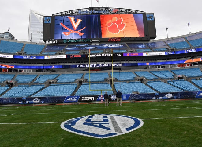 The logo on the field before the ACC football championship at Bank of America Stadium in Charlotte, North Carolina Friday, December 6, 2019.