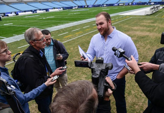 Eric MacLain, an ACC Network analyst, speaks with media during the ACC football championship pregame press conference at Bank of America Stadium in Charlotte, North Carolina Friday, December 6, 2019.