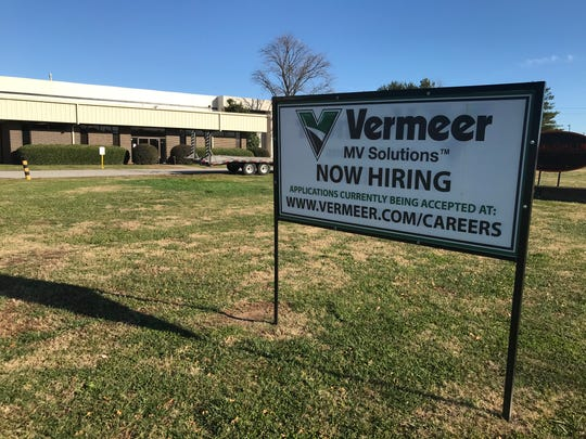 A sign posted in front of the Vermeer vacuum excavator plant on Thursday, Dec. 15, 2019, says the company is hiring. Iowa-based Vermeer has added 30 jobs to its Greenville operation since purchasing the plant in 2017 and plans to add another 25 when it expands at a 43-acre site in the new South Greenville Enterprise Park on U.S. 25 in Piedmont.