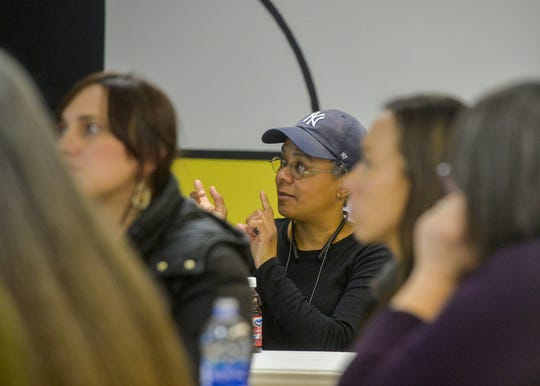 Nancy Nieves shares thoughts during a Missing Indigenous Persons Task Force meeting on Thursday night at the Little Shell Chippewa Tribe Office Building in Great Falls.