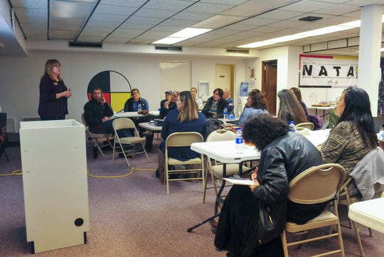 Tina Chamberlain, LINC coordinator with Montana Department of Justice, opens Thursday's meeting Missing Indigenous Persons Task Force at the Little Shell Chippewa Tribe Office Building in Great Falls.