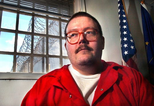 Death Row inmate Gregory Scott Johnson, 40, sits in the Indiana State Prison in Michigan City on Tuesday, May 10, 2005, awaiting his execution.