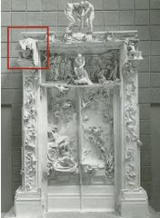 "The red square shows where ""The Fallen Caryatid"" is on Auguste Rodin's ""The Gates of Hell."""