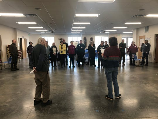 Meta Peace Team trainers Rev. Peter Daugherty and Joan Wages lead a nonviolence response training Dec. 6, 2019, at St. Thomas More Catholic Church in Coralville.