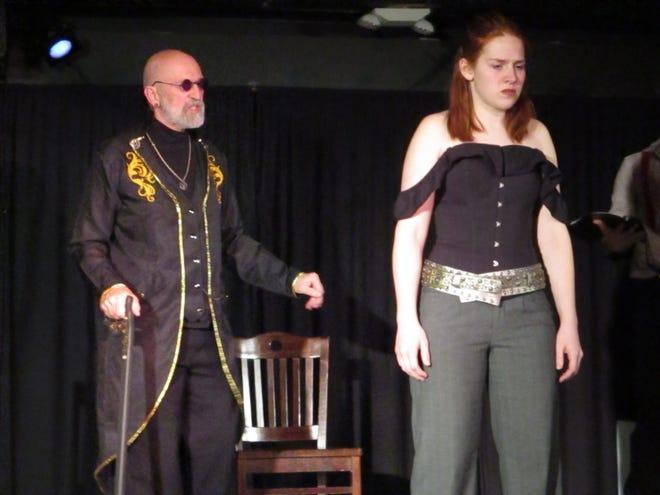 "Len Struttmann (left) and Marda Rude (right) during dress rehearsal for                                Run of the Mill's production of ""Antigone"" on Thursday, Dec. 5, 2019."