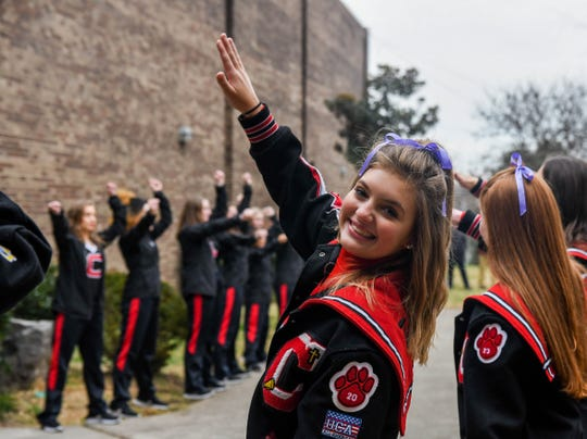 Central cheerleaders, dance team and band lined up outside of the school to cheer on the football team as they headed for the bus to Cookeville. The state championship game will be played tonight, Friday, Dec. 6, 2019.