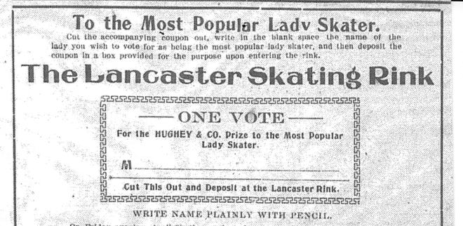 """Hughey & Co. sponsored a contest to promote their store and the skating rink in April 1906. Skaters could clip and complete as many coupons/nominations as they wished for the """"Most Popular Lady Skater."""" Coupon appeared in the 17 April 1906 Gazette."""