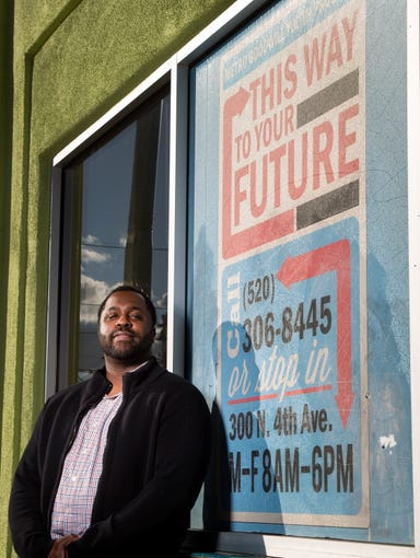 Lance Meeks, program manager Goodwill Metro/REC youth program, poses for a portrait in front of Goodwill Metro/REC, 300 N. Fourth Ave., in Tucson, Ariz. on November 22nd, 2019. Meeks manages the Goodwill Metro Youth Program, which started 5 years ago, to help youth and young adults between the ages of 16-24 with employment and education.
