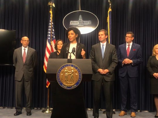 La Tasha Buckner (at podium) will serve as Gov.-elect Andy Beshear's general counsel and chief of staff