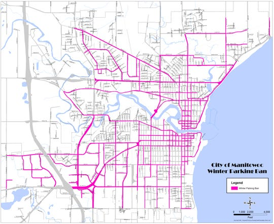 This map shows streets in Manitowoc that would be affected by a winter parking ban in the city.
