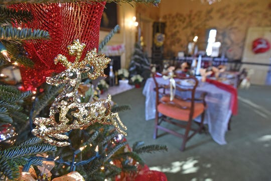 The dining room at Kingwood Hall is decorated for the Christmas Holiday.