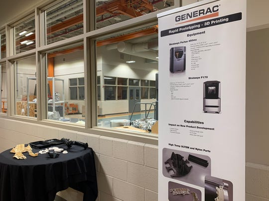 In what was once a factory that produced generators, a 3-D printing area stands in the lab and tech areas of the heavily remodeled Genesee/Waukesha facility of Generac. The former plant was converted in phases over six years and now serves research, design and testing purposes, as well as functioning as the firm's executive global headquarters.