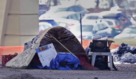 A homeless person's tent.