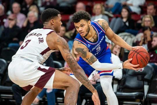 Louisiana Tech redshirt junior Kalob Ledoux (5) faces up against Mississippi State D.J. Stewart (3) during Thursday night's non-conference contest at Humphrey Coliseum.