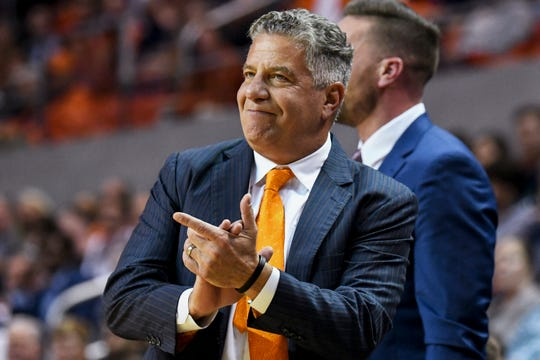 Auburn coach Bruce Pearl reacts to a play during the first half of the team's NCAA college basketball game against Furman on Thursday, Dec. 5, 2019, in Auburn, Ala. (AP Photo/Julie Bennett)