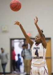Park Crossing's Alexis Andrews (4) takes a jump shot at Park Crossing High School in Montgomery, Ala., on Thursday, Dec. 5, 2019.