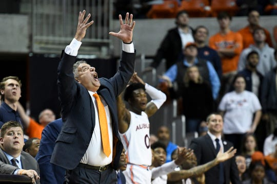 Auburn coach Bruce Pearl reacts to a call during the second half of the team's NCAA college basketball game against Furman on Thursday, Dec. 5, 2019, in Auburn, Ala. (AP Photo/Julie Bennett)