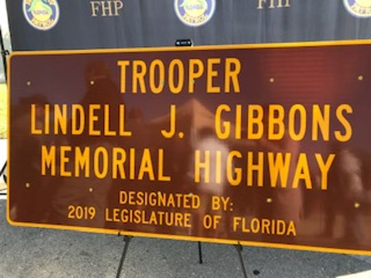 A sign that will be placed between mile markers 101 and 102 on I75 to honor fallen Florida Highway Patrol Officer Lindell J. Gibbons.