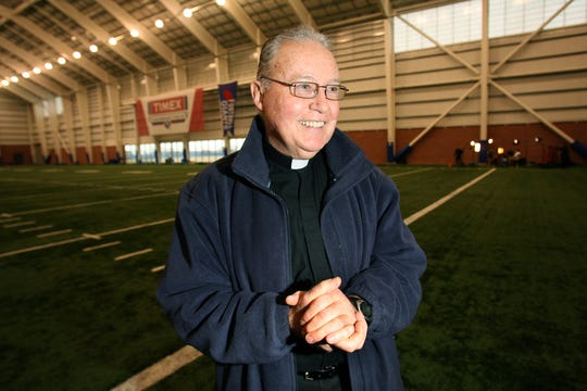 Giants team chaplain Father Bill Dowd pictured at the Giants Timex Performance Center field house in 2012.