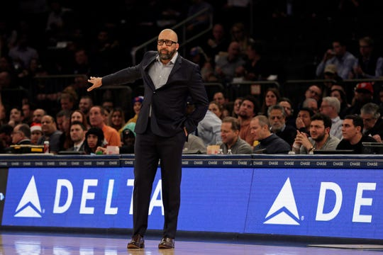 New York Knicks head coach David Fizdale reacts against the Denver Nuggets during the first half at Madison Square Garden.