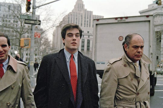 "Robert Chambers, the so-called ""preppie killer,"" accompanied by his father, Robert Chambers, Sr., arrives at New York City Criminal Court, Dec. 12, 1986."
