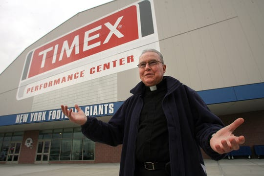 The Rev. Bill Dowd, who worked as Giants team chaplain,  pictured outside the Giants Timex Performance Center field house in 2012.