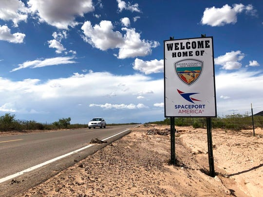This Aug. 15, 2019 image shows the road to Spaceport America near Upham, New Mexico. Virgin Galactic CEO George Whitesides told a group of business leaders during a luncheon in Albuquerque, New Mexico, on Thursday, Dec. 5, 2019 that the spaceport is operationally ready and the company is aiming for commercial operations to start in 2020 after test flights are complete.