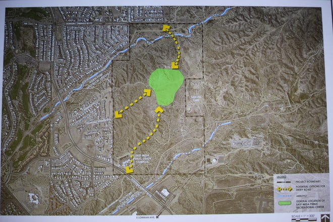 The concept area for the new East Mesa Public Recreational Complex is in green, with three arrows for potential roadways, presented at Doña Ana Community College on Dec. 5, 2019.